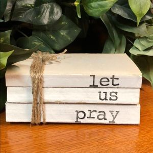 """3 farmhouse inspired books stamped """"Let us pray"""""""